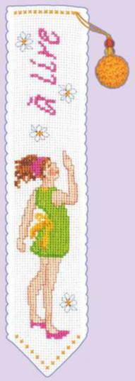クロスステッチ刺繍キット輸入ル・ボヌール・デ・ダムLeBonheurdesDamesブックマーク/緑のドレスの女の子Marque-pagejeunefilleenrobeverte刺しゅうフランス初心者4553