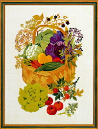 クロスステッチ刺繍キットEVAROSENSTAND野菜バスケットBasketwithvegetablesデンマーク北欧刺しゅうリネン上級者08-4176