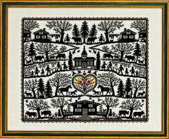 クロスステッチ刺繍キットEVAROSENSTANDシルエットクリップSilhuetklipデンマーク北欧刺しゅうリネン上級者12-535