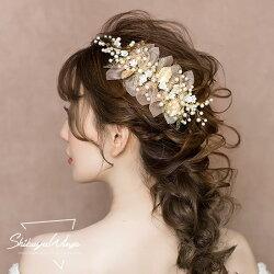 ウエディングティアラ髪飾りパールウェディング結婚式ヘッドドレスカチューシャブライダル用花嫁パーティー二次会ヘアアクセサリー発表会