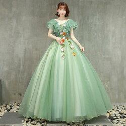 演奏会用カラードレス袖ありロングドレスパーティードレスウェディングドレス二次会ウエディングドレスコンサート花嫁プリンセスラインエンパイア大きいサイズ/小きいサイズステージ衣装
