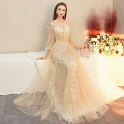 カラードレス演奏会パーティードレス結婚式イブニングドレスロングドレス長袖フォーマル二次会花嫁カクテルドレスaラインドレスコンサート