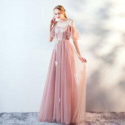 パーティードレスカラードレス演奏会イブニングドレス袖ありロングドレス結婚式フォーマル花嫁カクテルドレ