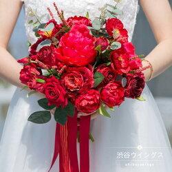 ウェディングブーケ手作りブーケ結婚式ウエディングブーケラウンドブーケ花嫁ブライダルブーケ造花ブートニア二次会赤