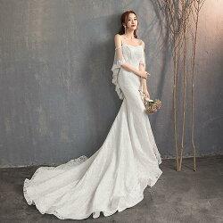 ウェディングドレス結婚式パーティードレスウエディングドレス袖ありマーメイドドレスロングドレス花嫁ブライダル白披露宴大きいサイズ小きいサイズ二次会ロングトレーンweddingdress