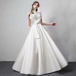 ウエディングドレス結婚式Aラインドレス半袖ロング花嫁パーティードレス二次会ウェディングドレスエンパイアサテン披露宴発表会大きいサイズ/小きいサイズサッシュリボン