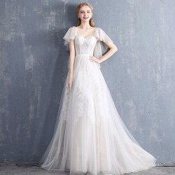 ウエディングドレスAラインドレス袖ありロングドレス花嫁パーティードレス二次会ウェディングドレスお呼ばれ結婚式エンパイア大きいサイズ小きいサイズ披露宴発表会