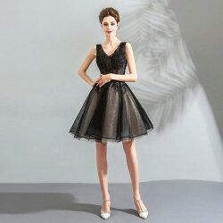 パーティードレスショートドレスカラードレスお呼ばれミニドレス結婚式ワンピース二次会ドレスコンサートAラインドレス大きいサイズ/小きいサイズ披露宴発表会ブラック黒