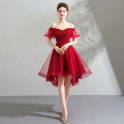 パーティードレス袖ありショートドレスカラードレスお呼ばれミニドレス結婚式ワンピース二次会ドレスコンサートAラインドレス披露宴発表会大きいサイズ/小きいサイズ赤