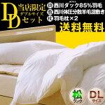東京西川フランス産シルバーダック93%羽毛布団西川リビング体圧分散羊毛混敷羽根枕×[2]4点セット(ダブル)