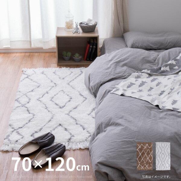 シンプルで優しいデザインのマット ノア 約70×120cm 玄関マット 室内マット ベッドサイドマット シンプル 北欧 かわいい ふかふか シャギー ベージュ アイボリー 韓国インテリア