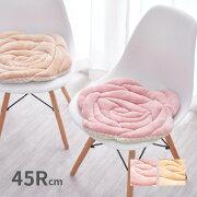 バラの形をかたどったかわいいバラ柄の姫系座布団とろける肌触りのシートクッションローズ約45×45cmベージュピンク薔薇雑貨インテリア雑貨子供部屋女の子