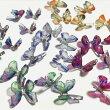 (10個セット)蝶のデコパーツAアクリル蝶々チョウバタフライパーツ貼り付けハンドメイドネイル
