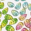 (6個セット)リーフのガラスチャーム葉葉っぱグラデーションカラーミックスビーズパーツハンドメイド