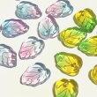 (8個セット)リーフのガラスチャーム葉葉っぱグラデーションビーズパーツハンドメイド