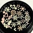 (約15枚セット)デザインミックスのメタルパーツクリスタル結晶ハートリボン星スター羽レジン封入ピンクホワイト両面ランダム