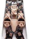 高級西陣金らん 和柄サスペンダー 2way方式 日本製 ハンドメイド レディース対応 スカート可 黒四角