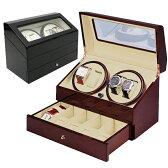 時計巻上 DXワインディングマシーン 4本巻 ウッド調仕上 ウォッチワインダー KA074 ワインディングマシン 自動巻きの腕時計に 時計ケース付 ギフト プレゼント 【あす楽】送料無料
