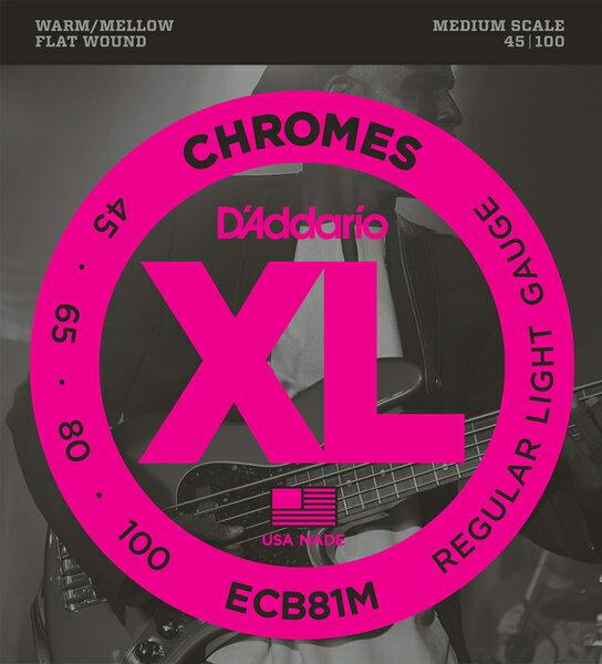 D'Addario【エレキベース用フラットワウンド弦 ミディアムスケール】ECB81M