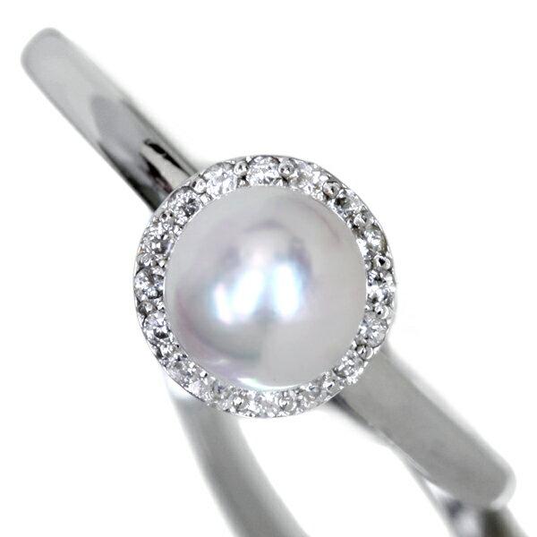 K18WG あこや真珠リング 5.5mm 0.08ct ダイヤモンドパール【送料無料】