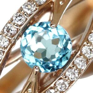 K18PG0.28ctブルートパーズリング0.18ctダイヤモンド