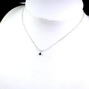 【39,800円均一!!】K18WGサファイアネックレス0.02ctダイヤモンド