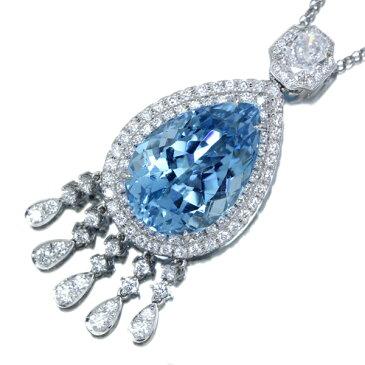 【HANDMADE】PT950 サンタマリアアクアマリン ネックレス 20.8ct 2.02ct ダイヤモンド