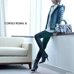 一流の品質CORSOROMA9(コルソローマ9)イタリア製レザーブーティピンヒール9cm|本革ブーティーアンクルブーツハイヒールフォーマルビジネス痛くない歩きやすい疲れにくいきれいめセレブブラック黒送料無料