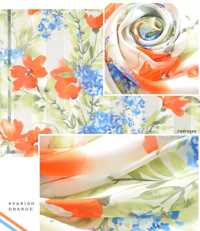 スカーフ シルク 100% サテン 日本製 正方形 大判 花柄 レディース 88×88cm フラワー 春 夏 横浜スカーフ 人気 ブランド 誕生日 プレゼント お母さん 母の日 ギフト 義母 義理の母親 祖母 おばあちゃん 贈り物 お祝い 上司 部下 ピンク オレンジ 橙 パステル カラー