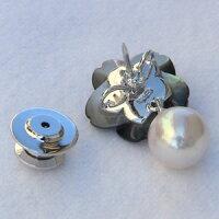 メンズジュエリー真珠パールブローチあこや真珠シルバーメンズ黒蝶貝