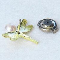 真珠:パール:K18:ゴールド:ピンブローチ:タイニーピン:6-6.5mm:とんぼ:18金