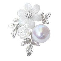 真珠パール6月誕生石パールブローチピンズあこや本真珠8mmピンクホワイト系白蝶貝花フラワーモチーフ