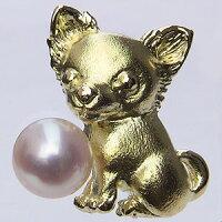 6月真珠パール:ブローチ:あこや本真珠:K18:ゴールド:ピンブローチ:タイニーピン:4mm:チワワ
