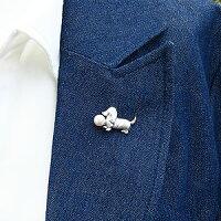 ブローチパールあこや真珠パールブローチシルバーロングヘアーダックス犬6月誕生石