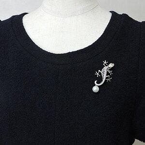 ブローチ ヤモリデザイン Gecko トカゲ ペンダント兼用可 南洋白蝶真珠 10mm ダイヤモンド K18 ホワイトゴールド レディース