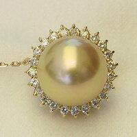 6月真珠パール:ブローチ:南洋白蝶真珠:タイタック:ダイヤモンド:パール:ゴールド系:12mm:K18:ゴールド