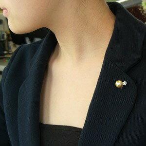 真珠 パール ブローチ ピンブローチ ラペルピン 南洋白蝶真珠 ダイヤモンド 花 パール 11mm ゴールド系 K18WG ホワイトゴールド
