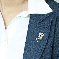 辰モチーフパールピンブローチ真珠ブローチピンズゴールデンパール南洋白蝶真珠ゴールド系直径10mm龍ドラゴンモチーフSVシルバー