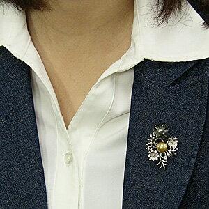 パール 真珠 ブローチ ペンダントブローチ ペンダント 南洋白蝶真珠 ゴールド系 直径10mm 黒蝶貝 花モチーフ SV シルバー