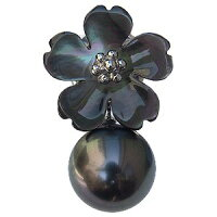 パール:真珠:ピンブローチ:ブローチ:ブラックパール:タヒチ黒蝶真珠:グリーン系:直径10mm:黒蝶貝:フラワー:花モチーフ:SV:シルバー