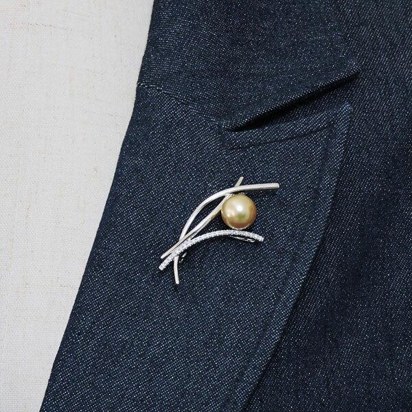ブローチ 枝イメージ 珠色ゴールド系 10mm大珠 南洋白蝶真珠 0.12ct ダイヤモンド K18ホワイトゴールド レディース
