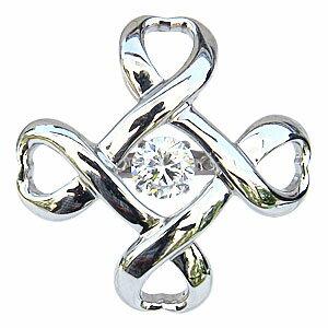 一粒 ダイヤモンド 0.50ct メンズブローチ タイニーピン K18WG ホワイトゴールド ダンシングストーン トゥインクルセッティング クロス