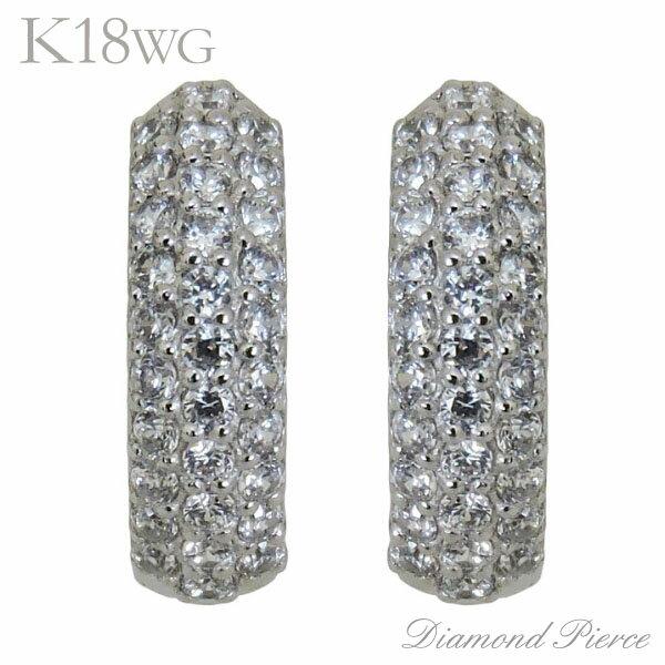 ピアス 中折れフープタイプ 62石 パヴェ ダイヤモンド K18ホワイトゴールド レディース