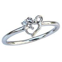 ダイヤモンドリングピンキーリングダイヤモンド指輪ダイヤモンド一粒ハートモチーフリボンモチーフプラチナPT900【RCP】