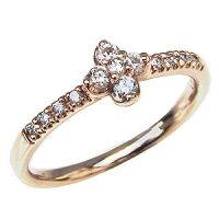 ダイヤモンドリング指輪フラワーモチーフ花ピンクゴールドK10ダイヤモンド0.14ct【RCP】