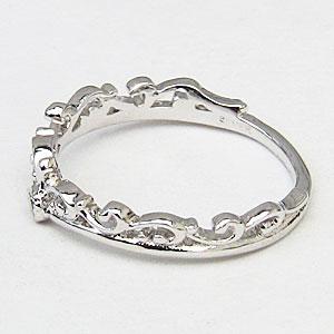 ティアラリング 一粒 ダイヤモンド 0.01ct 指輪 4月誕生石 プラチナ PT900 王冠