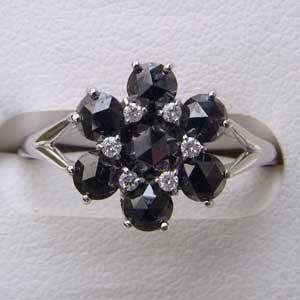 指輪ダイヤモンド ブラックダイヤモンド リング K18WG ホワイトゴールド 指輪