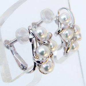 ベビーパール イヤリング あこや本真珠 3.5-4mm パールイヤリング ダイヤモンド 0.04ct ホワイトゴールド マルチプル 多数付き