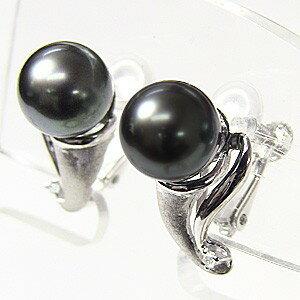 イヤリング パール 黒真珠パール PT900プラチナイヤリング ダイヤモンド