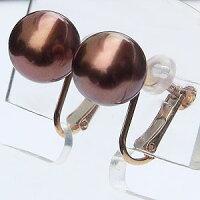 真珠パール:イヤリング:ショコラパール:9mm:ピンクゴールド:K18:18金